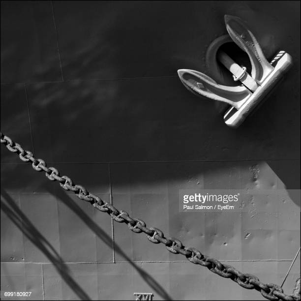 Chain Hanging By Ship With Anchor