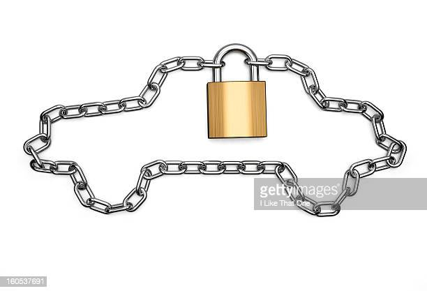 Chain in the shape of a car locked with a padlock