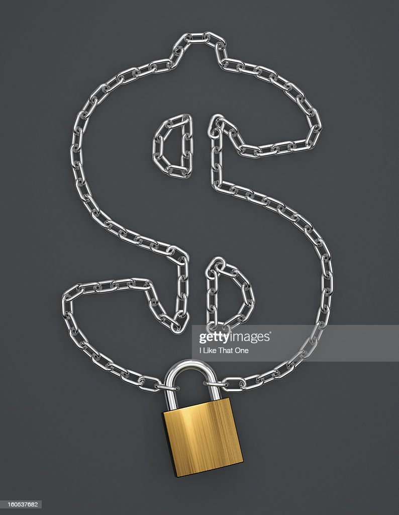Chain in the shape of a Dollar sign with a padlock : Bildbanksbilder