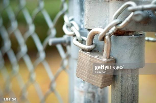 Chain link fence gate locked door
