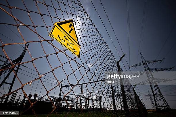 Chain link fence with a sign warning of high voltage