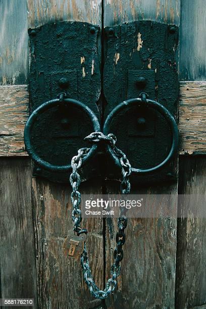 Chain Lock on Wooden Door