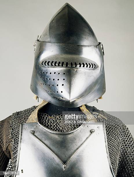 Chain mail armour and bascinet with pig faced snout ca 1410 made in Milan Italy 15th century Sluderno Armeria Trapp Del Castel Coira