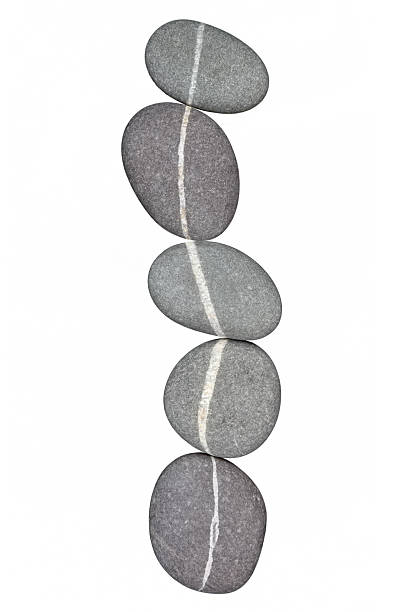 Chain of five pebbles linked by quartz veins