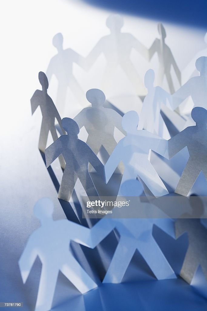 Chain Of Paperdoll Cutouts Stock Photo