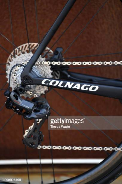 Chain Stays / Cassette / Derailleur pulley / Rear Derailleur / Colnago Bikes C64 of Team Gazprom - RusVelo / Elite Bottle / Detail view / during the...