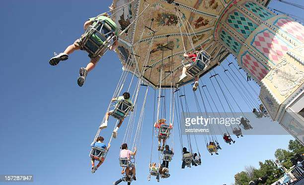 chain swing ride carousel - raleigh north carolina stock pictures, royalty-free photos & images