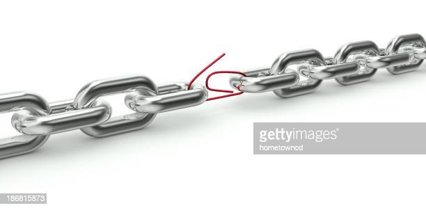 Chain with a weak link in a red paper clip