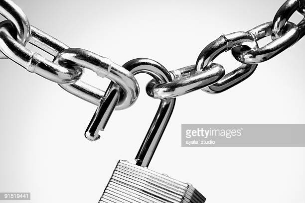 Chain with open padlock