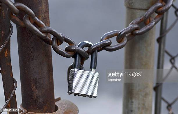 chained and padlocked metal chain link fence. - business closing stock photos and pictures