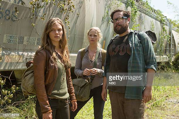 REVOLUTION 'Chained Heat' Episode 102 Pictured Tracy Spiridakos as Charlie Matheson Anna Lise Phillips as Maggie Zak Orth as Aaron