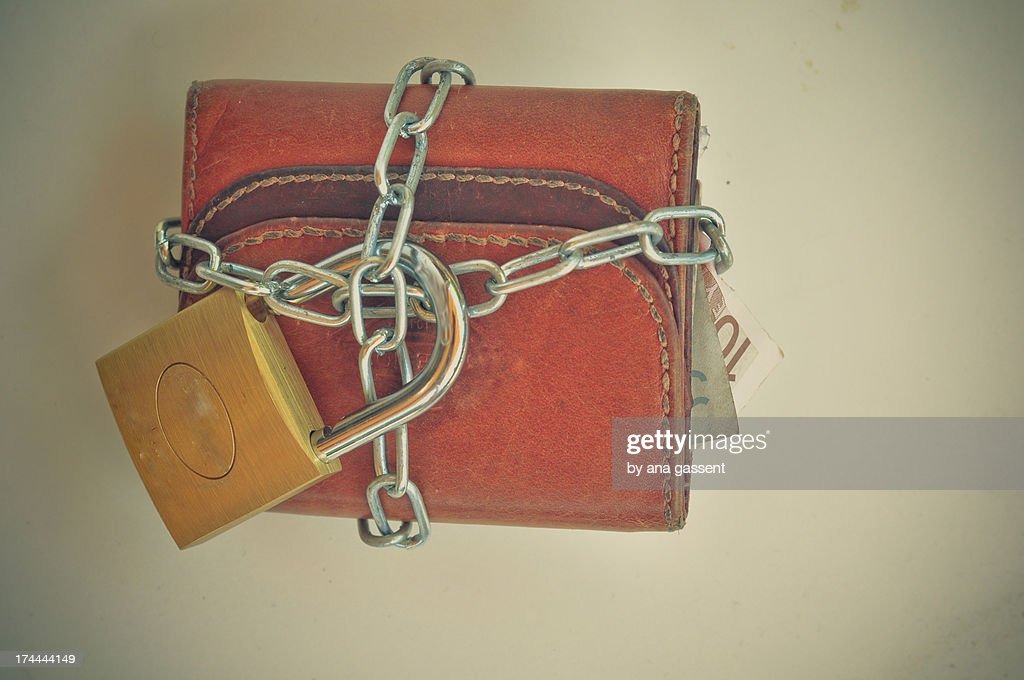 Chained wallet : Stock Photo