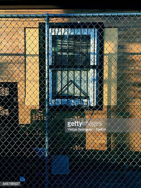 Chainlink Fence Against Building