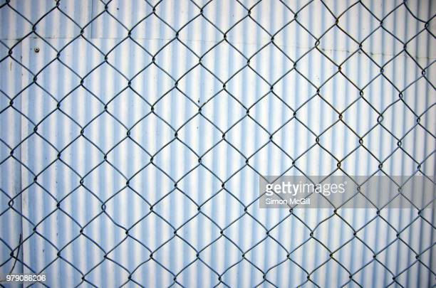Chainlink wire fence in front of a corrugated iron fence