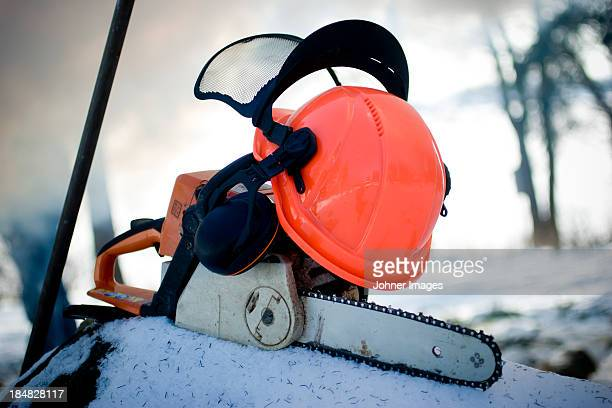 Chainsaw and hardhat