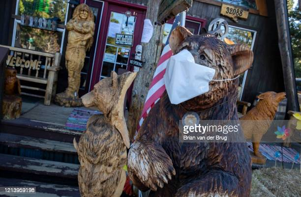 Chainsaw carved bear wears a facemark at Rustic Furniture, which is temporarily closed due to coronavirus restrictions on Thursday, May 14, 2020 in...