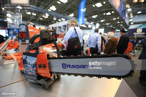 A chainsaw sits on display on the Husqvarna AB exhibition stand during the Bauma construction industry fair in Munich Germany on Monday April 11 2016...