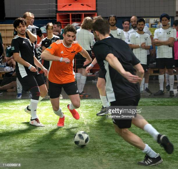 Chainsmokers DJ Andrew Taggart chases a loose ball during the Copa Del Rave Charity Soccer Tournament at Evolve Project LA on April 17 2019 in Los...