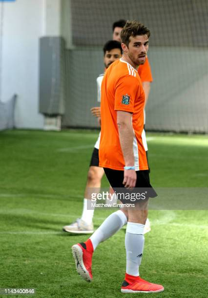 Chainsmokers DJ Andrew Taggart competes with his team during the Copa Del Rave Charity Soccer Tournament at Evolve Project LA on April 17 2019 in Los...