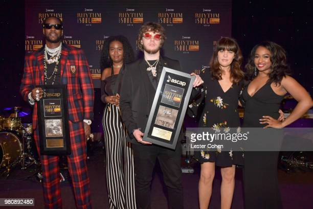 Chainz accepts the award for 'Good Drank' and Murda Beatz for 'It's A Vibe' onstage at the 31st Annual ASCAP Rhythm Soul Music Awards at the Beverly...