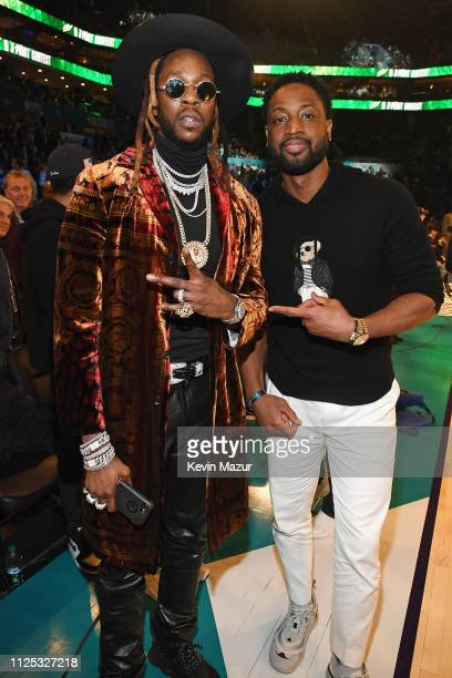 Chainz and Dwyane Wade attend the 2019 State Farm AllStar Saturday Night at Spectrum Center on February 16 2019 in Charlotte North Carolina