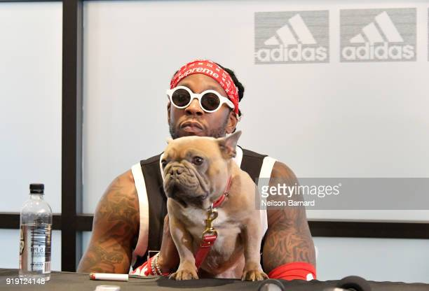 Chainz and his dog Trappy speak during a press conference at adidas Creates 747 Warehouse St an event in basketball culture on February 16 2018 in...