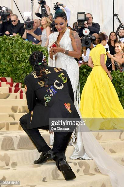 Chainz and Kesha Ward attend the Heavenly Bodies Fashion The Catholic Imagination Costume Institute Gala at The Metropolitan Museum of Art on May 7...