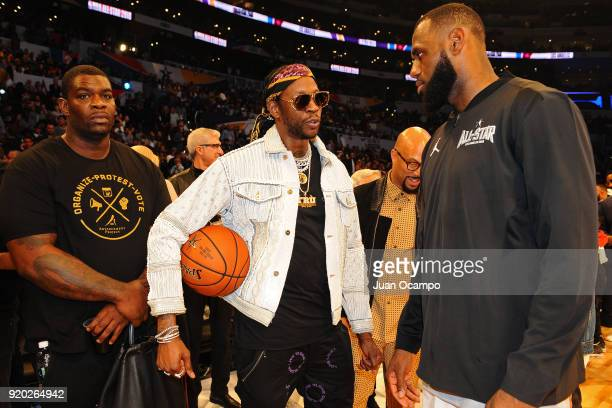 Chainz and LeBron James of Team LeBron talk duringthe NBA AllStar Game as a part of 2018 NBA AllStar Weekend at STAPLES Center on February 18 2018 in...