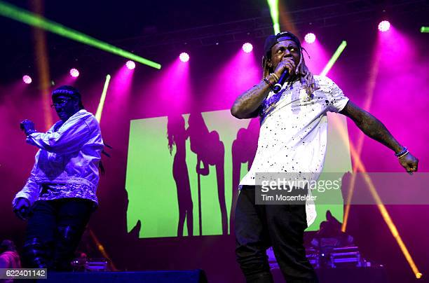 Chainz and Lil Wayne perform during the Collegrove Tour at ORACLE Arena on November 10 2016 in Oakland California