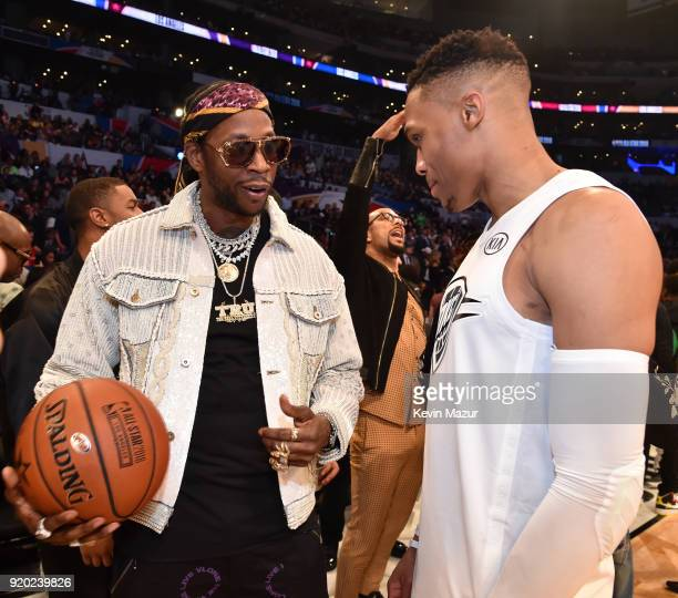 Chainz and Russell Westbrook at the 67th NBA AllStar Game Team LeBron Vs Team Stephen at Staples Center on February 18 2018 in Los Angeles California