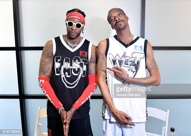 Chainz and Snoop Dogg pose for a portrait during a press conference at adidas Creates 747 Warehouse St an event in basketball culture on February 16...