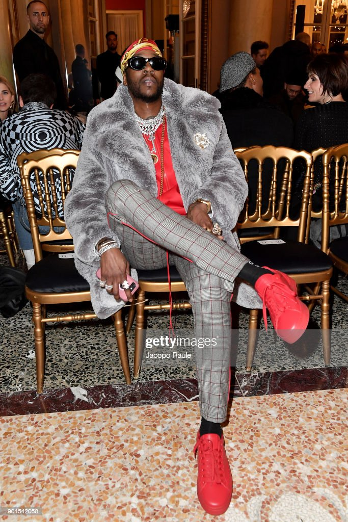 2 Chainz attends the Versace show during Milan Men's Fashion Week Fall/Winter 2018/19 on January 13, 2018 in Milan, Italy.