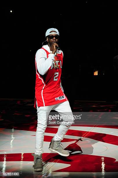 Chainz before the game between the Miami Heat and Atlanta Hawks on March 27 2015 at Philips Arena in Atlanta Georgia NOTE TO USER User expressly...