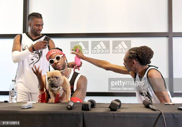 2 Chainz his dog Trappy and Snoop Dogg speak during a press conference at adidas Creates 747 Warehouse St an event in basketball culture on February...