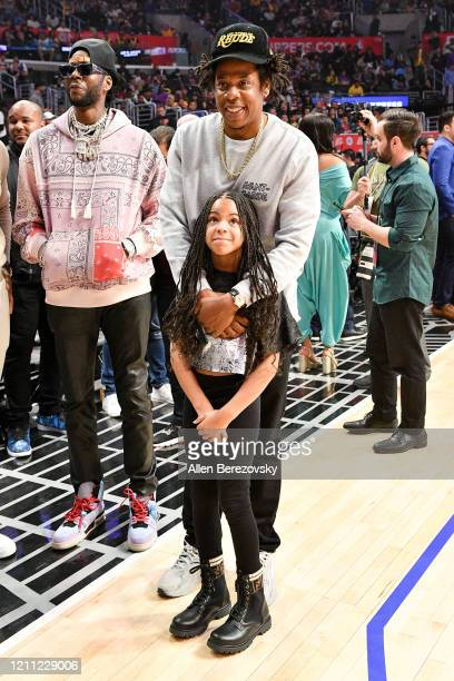 Chainz, Jay-Z and Blue Ivy Carter attend a basketball game between the Los Angeles Clippers and the Los Angeles Lakers at Staples Center on March 08,...