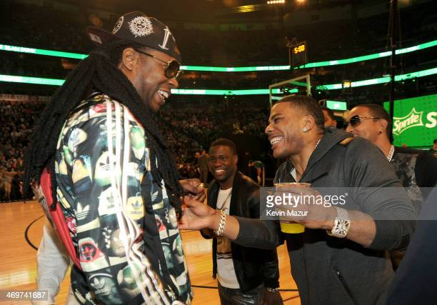 Chainz, Kevin Hart, and Nelly attend the State Farm All-Star Saturday Night during the NBA All-Star Weekend 2014 at The Smoothie King Center on...