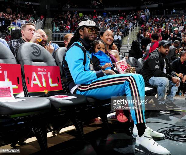 Chainz looks on during the game between the Boston Celtics and the Atlanta Hawks on November 18 2017 at Philips Arena in Atlanta Georgia NOTE TO USER...