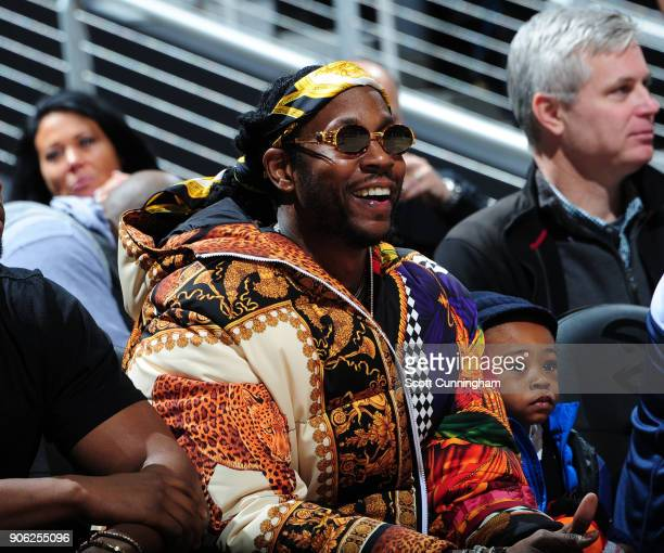 Chainz looks on from court side during the game between the Atlanta Hawks and the New Orleans Pelicans on January 17 2018 at Philips Arena in Atlanta...