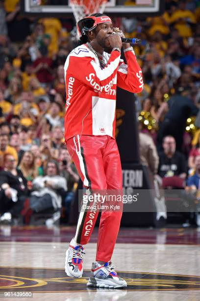 Chainz performs in Game Four of the Eastern Conference Finals between the Boston Celtics and the Cleveland Cavaliers the 2018 NBA Playoffs on May 21...
