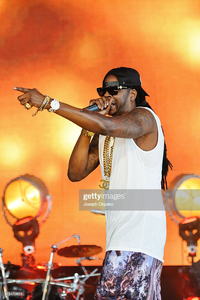 2 Chainz performs on day 3 of the Yahoo! Wireless Festival at Queen Elizabeth Olympic Park on July 14, 2013 in London, England.