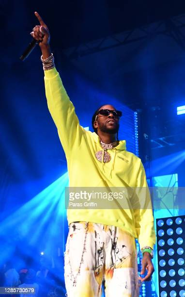 """Chainz performs onstage during his """"So Help Me God"""" Parking Lot Concert series at Gateway Center Arena on November 14, 2020 in College Park, Georgia."""