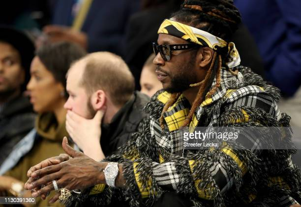 Chainz watches the action during the NBA AllStar game as part of the 2019 NBA AllStar Weekend at Spectrum Center on February 17 2019 in Charlotte...