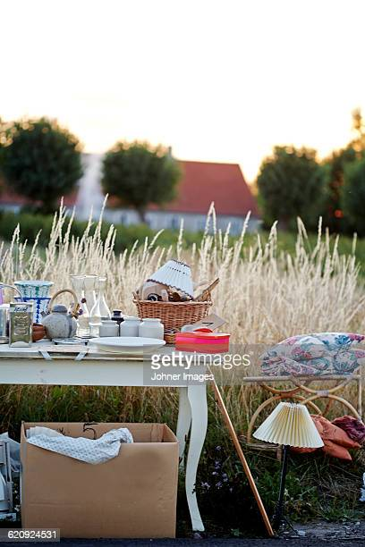 Chair and table in field