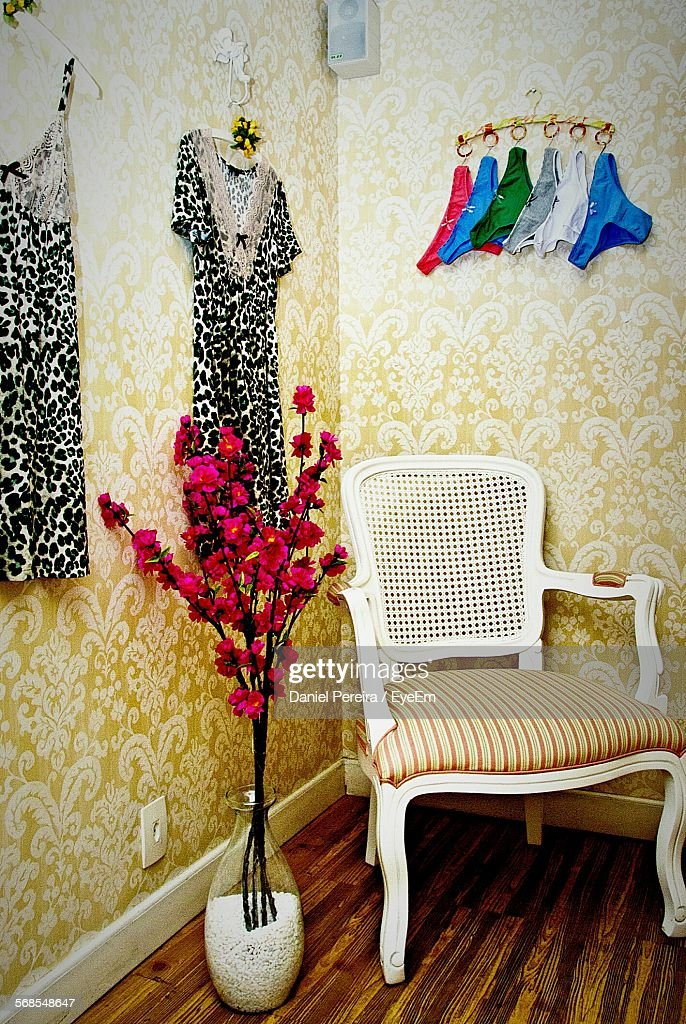 Chair By Wall At Home : Stock Photo