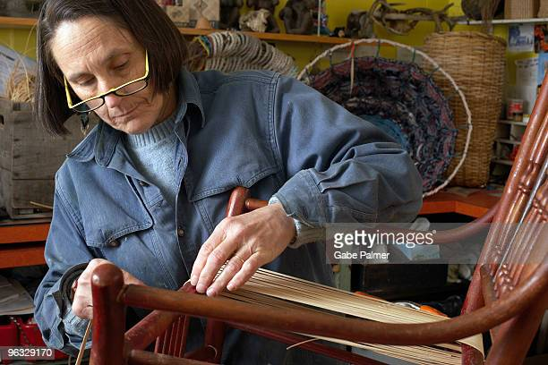 chair caning in a vermont workshop - caning stock pictures, royalty-free photos & images