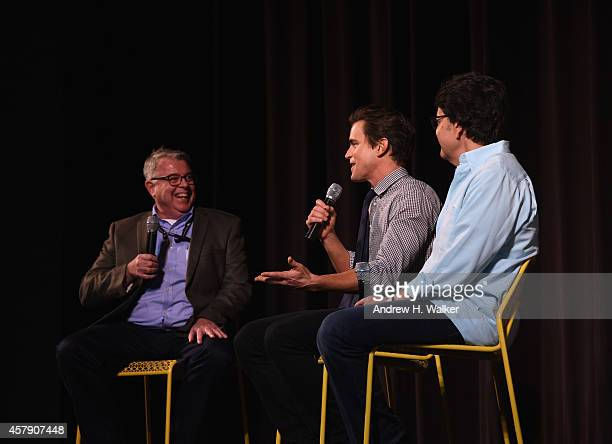 Chair Chris Auer moderates as actor Matt Bomer and HBO Films President Len Amato answer questions during Q&A session at Trustees Theater during Day...