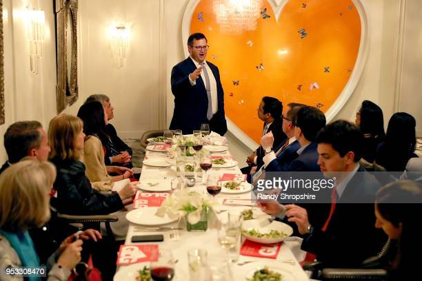Chair CoFounder of The Resolution Project Oliver Libby and guests attend GLG Social Impact Dinner At Milken at Cecconi's on April 30 2018 in West...