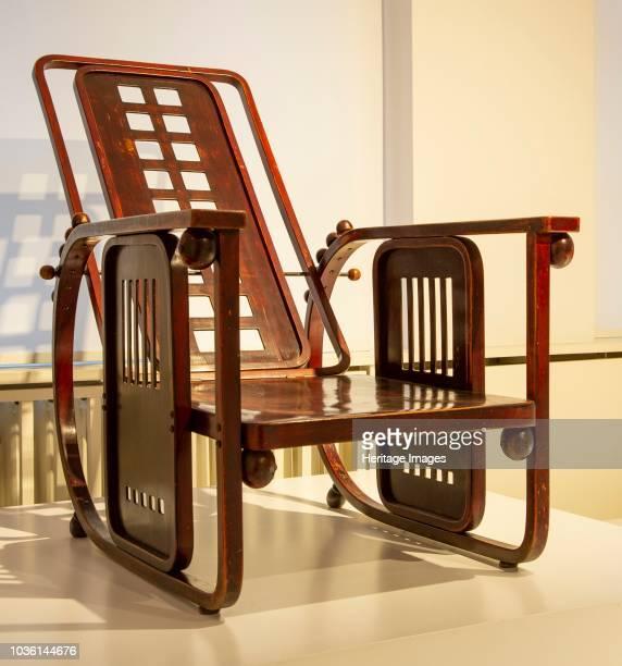Chair designed by Josef Hoffmann 'Sitzmachine' Made by Jacob u Josef Kohn Wien um 1905 Geometric patterns with reclining backrest and armrests