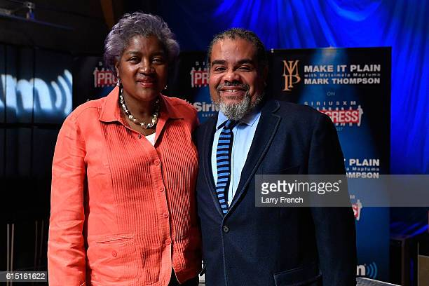 Chair Donna Brazile appears with host Mark Thompson before a Leading Ladies discussion at SiriusXM studios on October 17 2016 in Washington DC
