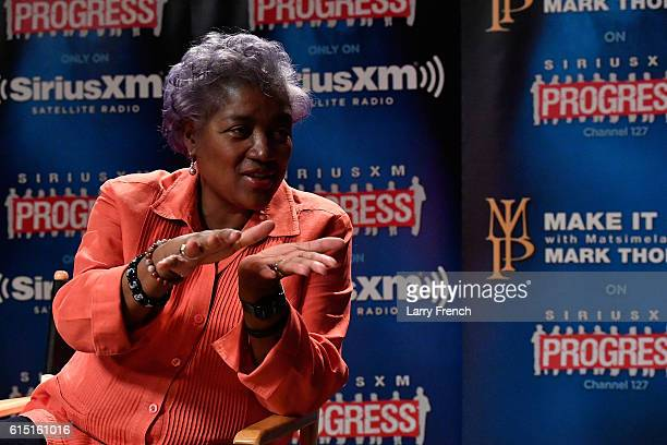 Chair Donna Brazile speaks with host Mark Thompson during a Leading Ladies discussion at SiriusXM studios on October 17 2016 in Washington DC